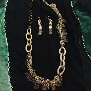 Chicos silver necklace and matching earrings